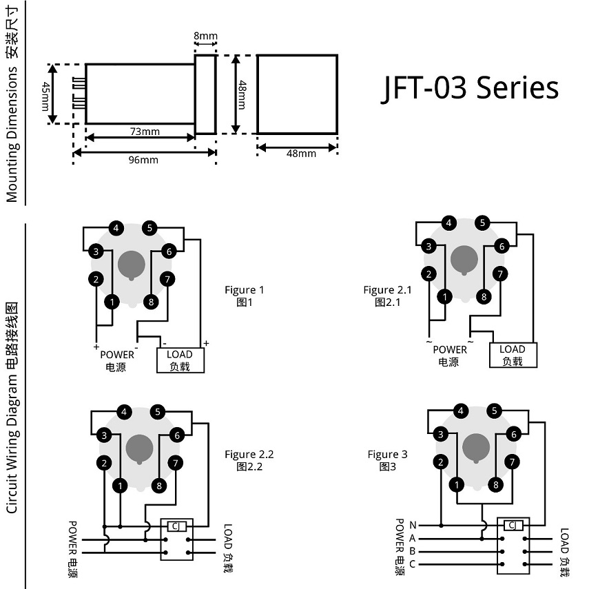 JFT-03 dimensions and wiring diagram